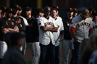 SAN FRANCISCO, CA - SEPTEMBER 29:  Former San Francisco Giants player Barry Bonds watches during a ceremony celebrating the career of manager Bruce Bochy after the game between the Los Angeles Dodgers and the San Francisco Giants at Oracle Park on Sunday, September 29, 2019 in San Francisco, California. (Photo by Brad Mangin)