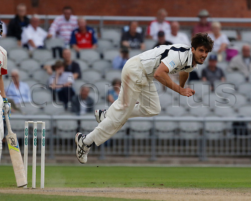 13.09.2016. Old Trafford, Manchester, England. Specsavers County Championship Division One Cricket. Lancashire versus Middlesex. Middlesex bowler Steven Finn bowls during the afternoon session. Middlesex were all out for 327 at lunch today.