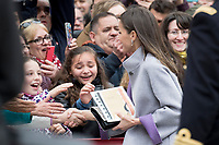 Kings of Spain, King Felipe VI of Spain and Queen Letizia of Spain delivers the Cervantes prize for literature in Spanish to the Uruguayan writer Ida Vitale at the Paraninfo of the Alcala University in the World Heritage City of Alcala de Henares near Madrid on April 23, 2019.<br /> Queen Letizia of Spain greets people after prize