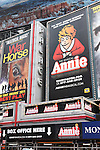 Theatre Marquee unveiled for 'Annie' - with Music by Charles Strouse, Lyrics by Martin Charnin, and Book by Thomas Meehan - Directed by James Lapine  at the  Palace Theatre, New York City on 9/21/2012.