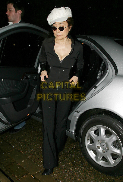 YOKO ONO.Beck's Futures 5 Awards. Institute Of Contemporary Arts, Carlton House terrace, SWI.car, full length, full-length, hat, sunglasses, shades, cleavage.www.capitalpictures.com.sales@capitalpictures.com.© Capital Pictures.