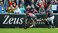 Leicester Tigers' Adam Thompstone scores his side's third try despite the attentions of Newcastle Falcons' Vereniki Goneva <br /> <br /> Photographer Stephen White/CameraSport<br /> <br /> Gallagher Premiership Round 2 - Leicester Tigers v Newcastle Falcons - Saturday September 8th 2018 - Welford Road - Leicester<br /> <br /> World Copyright &copy; 2018 CameraSport. All rights reserved. 43 Linden Ave. Countesthorpe. Leicester. England. LE8 5PG - Tel: +44 (0) 116 277 4147 - admin@camerasport.com - www.camerasport.com
