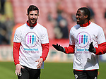 Jake Wright of Sheffield Utd and Clayton Donaldson of Sheffield Utd wears a Weston park Charity t-shirt during the championship match at the Bramall Lane Stadium, Sheffield. Picture date 14th April 2018. Picture credit should read: Simon Bellis/Sportimage
