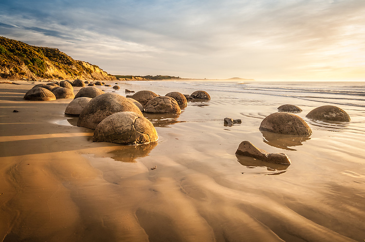 Early morning, Moeraki Boulders, Otago, New Zealand - stock photo, canvas, fine art print