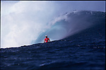 Teahupoo, Tahiti. May 2000. Mick Campbell of Australia getsspit out of the tube during the GOTCHA PRO 2000 at Teahupoo.