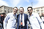 Alberto Contador (ESP) and Ivan Basso (ITA) with Sandro Pappalardo, The Head of Tourism, Sport and Entertainment of the Sicilian Region, before the start of Stage 1 of Il Giro di Sicilia running 165km from Catania to Milazzo, Italy. 3rd April 2019.<br /> Picture: LaPresse/Fabio Ferrari | Cyclefile<br /> <br /> <br /> All photos usage must carry mandatory copyright credit (© Cyclefile | LaPresse/Fabio Ferrari)