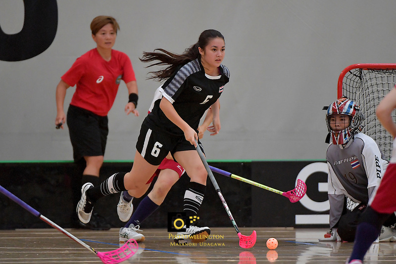 Thailand's Nelly Johanssan in action during the World Floorball Championships 2017 Qualification for Asia Oceania Region - Japan v Thailand at ASB Sports Centre , Wellington, New Zealand on Saturday 4 February 2017.<br /> Photo by Masanori Udagawa<br /> www.photowellington.photoshelter.com.