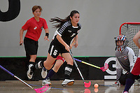 Thailand&rsquo;s Nelly Johanssan in action during the World Floorball Championships 2017 Qualification for Asia Oceania Region - Japan v Thailand at ASB Sports Centre , Wellington, New Zealand on Saturday 4 February 2017.<br /> Photo by Masanori Udagawa<br /> www.photowellington.photoshelter.com.