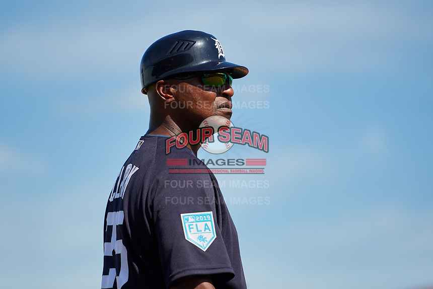 Detroit Tigers third base coach Dave Clark (25) during a Grapefruit League Spring Training game against the Atlanta Braves on March 2, 2019 at Publix Field at Joker Marchant Stadium in Lakeland, Florida.  Tigers defeated the Braves 7-4.  (Mike Janes/Four Seam Images)