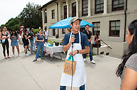 Six student teams battle to win the Iron Chef competition as part of Earth Month on Thursday, April 11, 2019 in the JSC Quad. Event MC, Amos Himmelstein, provided play-by-play of the action. Their task was to create the best vegetarian or vegan starter and sauté dishes. A wide variety of fresh organic produce (some freshly picked at the FEAST garden), FEAST eggs, spices, oils AND one secret ingredient were at the team's disposal.<br /> Chef Brad Kent, owner of Olio GCM Wood Fired Pizzeria at Grand Central Market and co-Founder/chief culinary officer for Blaze Pizza, is this year's guest judge.<br /> The contest is led by FEAST and supported by Campus Dining, Facilities Management, RESF, and the Office of the President.<br /> (Photo by Marc Campos, Occidental College Photographer)