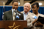 Stan St. Pierre jokes with Dr. Bennie Lambert and Twiana Collier at the 2011 Aldine Scholarship Foundation Scholarship Ceremony at Lone Star College - North Harris