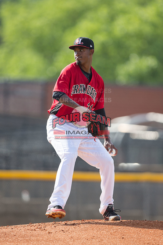 Hickory Crawdads pitcher Yohander Mendez (21) in action against the Savannah Sand Gnats at L.P. Frans Stadium on June 14, 2015 in Hickory, North Carolina.  The Crawdads defeated the Sand Gnats 8-1.  (Brian Westerholt/Four Seam Images)
