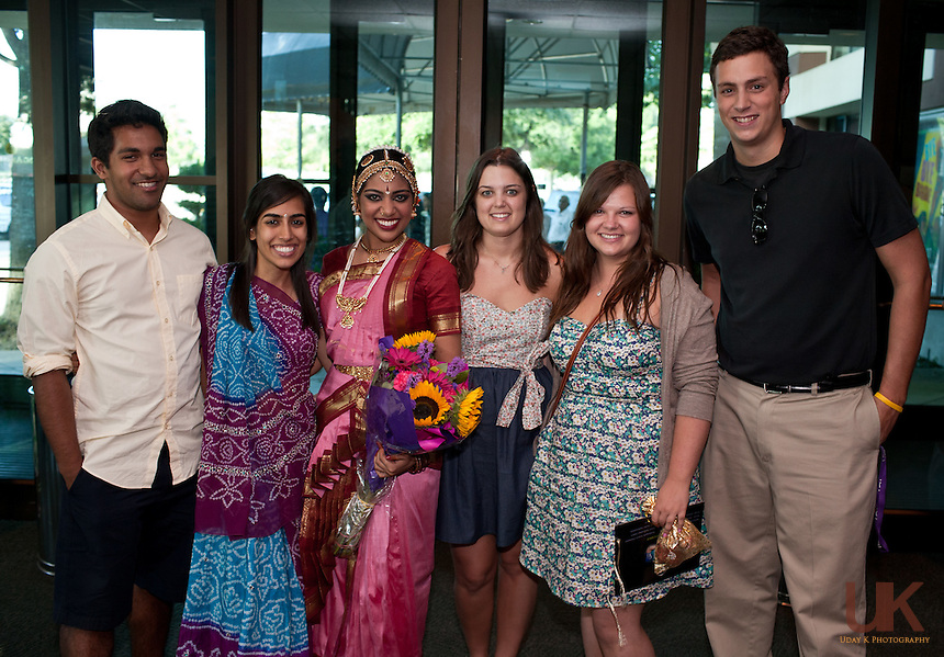 Preksha with her friends and family at the Irving Arts Center after her Arangetram.
