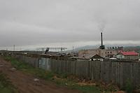 Erdenet, città mineraria a nord della Mongolia, edifici di origine sovietica Sede della Erdenet Mining Company, fabbriche