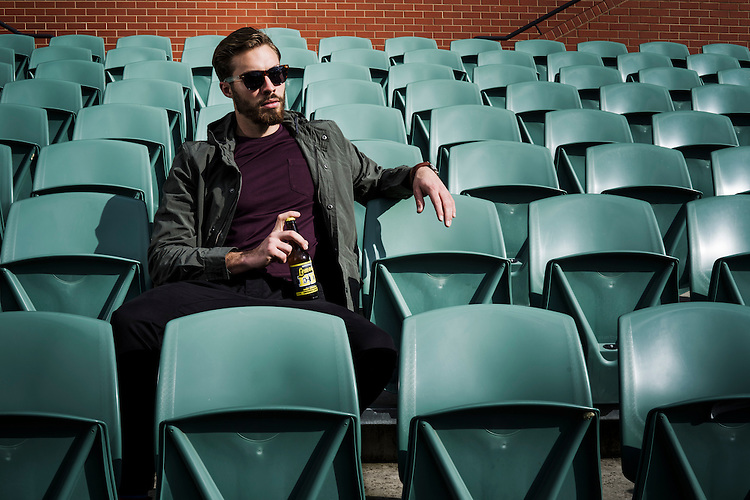 Sunday Mail Fashion, Soccer at the Adelaide Oval, Lemon Ed, Model Jack Littman. Photo: Nick Clayton