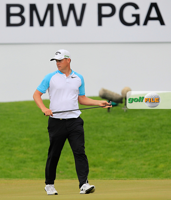 Alex Noren (SWE) on the 18th green during Round 4 of The BMW PGA Championship  at Wentworth Golf Club on Sunday 28th May 2017.<br /> Photo: Golffile / Thos Caffrey.<br /> <br /> All photo usage must carry mandatory copyright credit     (&copy; Golffile | Thos Caffrey)