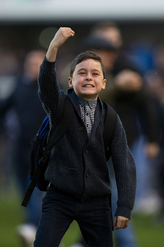 A young Millwall fan taunts the away support<br /> <br /> Photographer Craig Mercer/CameraSport<br /> <br /> Emirates FA Cup Fifth Round - Millwall v Leicester City - Saturday 18th February 2017 - The Den - London<br />  <br /> World Copyright &copy; 2017 CameraSport. All rights reserved. 43 Linden Ave. Countesthorpe. Leicester. England. LE8 5PG - Tel: +44 (0) 116 277 4147 - admin@camerasport.com - www.camerasport.com