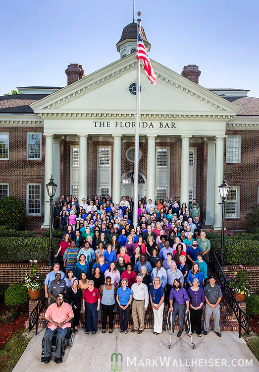 John F. Harkness Jr., Executive Director of the Florida Bar, with employees in front of the Bar building May 9, 2017 in Tallahassee, Florida.