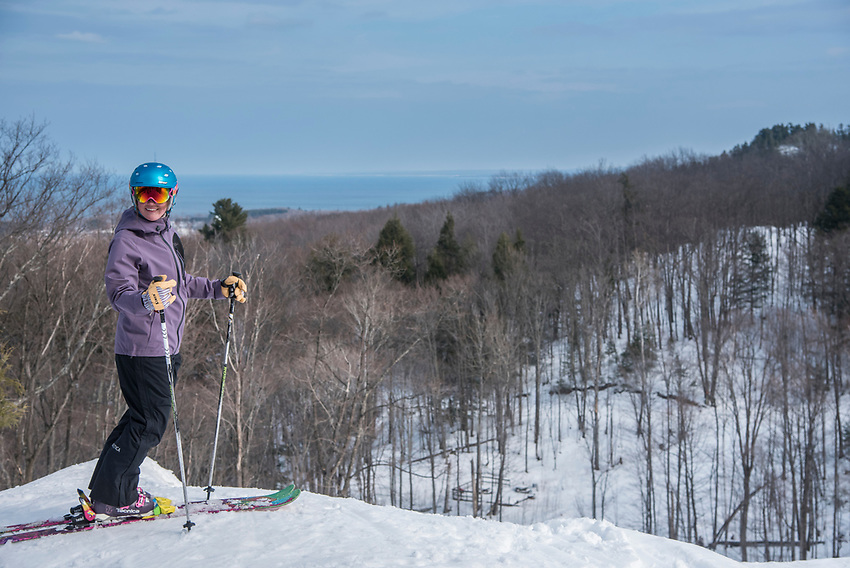 Skiing at Marquette Mountain Ski Area in Marquette, Michigan.
