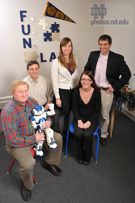 Mar. 3, 2010; Professor Joshua Diehl, right, with his assistants in a lab at Notre Dame's Center for Children and Families.  Diehl uses social robots as therapeutic aids for children with autism...Photo by Matt Cashore/University of Notre Dame