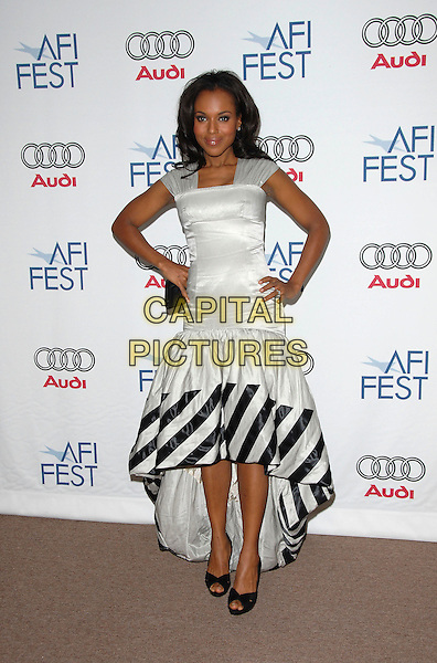 "KERRY WASHINGTON.Attends AFI Film Fest Screening of ""The Dead Girl"" held at The Arclight Rooftop, The Loft, Hollywood, LA,.California, USA, November 07, 2006..Full length black and white striped dress hands on hips.Ref: DVS.www.capitalpictures.com.sales@capitalpictures.com.©Debbie VanStory/Capital Pictures"