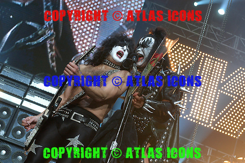 Gene Simmons, and Paul Stanley of Kiss Performs Performs At Madison Square Garden, In .New York City, On November 17, 2003.Photo Credit: Eddie Malluk/Atlas Icons.com