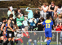 The crowd dodges a stray ball during the international hockey match between the New Zealand Black Sticks and Malaysia at Fitzherbert Park, Palmerston North, New Zealand on Sunday, 9 August 2009. Photo: Dave Lintott / lintottphoto.co.nz