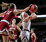 SIOUX FALLS, SD: MARCH 4: Emily Clemens #2 from Western Illinois has her shot blocked from behind by Samantha Romanowski #22 from Denver on March 4, 2017 during the Summit League Basketball Championship at the Denny Sanford Premier Center in Sioux Falls, SD. (Photo by Dave Eggen/Inertia)