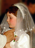 Pictured: Handout picture of Rebecca Aylward's first holy communion when she was 8 years old.STOCK PICTURE<br /> Re: A 16-year-old boy who battered his former girlfriend to death is due to be sentenced today (Friday 02 September 2011) for her murder.<br /> Rebecca Aylward, 15, from Maesteg, was lured into a wood in Aberkenfig, near Bridgend, in October 2010. <br /> Joshua Davies denied murder, blaming his friend, but was convicted by a 10-2 majority verdict in July.