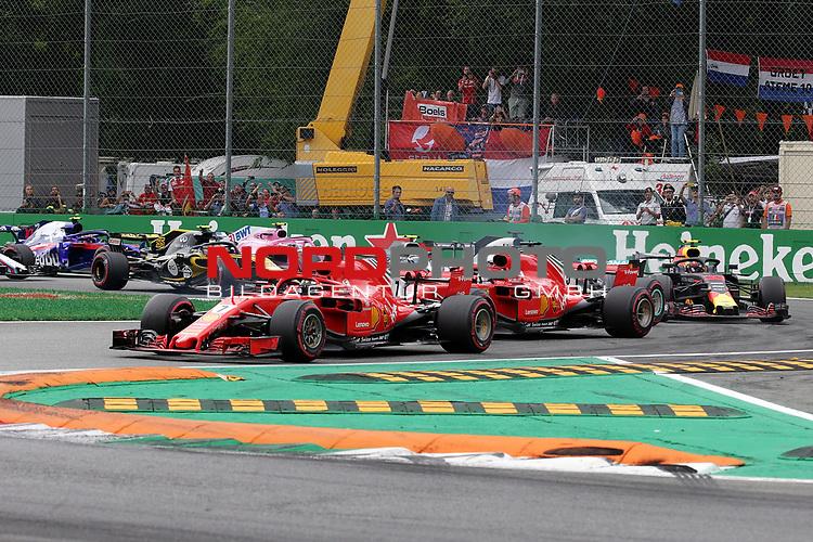 02.09.2018, Autodromo di Monza, Monza, FORMULA 1 GRAN PREMIO HEINEKEN D'ITALIA 2018<br />,im Bild<br />Rennstart:<br />Kimi Raikkonen (FIN#7), Scuderia Ferrari, Sebastian Vettel (GER#5), Scuderia Ferrari, Lewis Hamilton (GB#44), Mercedes AMG Petronas Formula One Team, Valtteri Bottas (FIN#77), Mercedes AMG Petronas Formula One Team, Max Verstappen (NEL#33), Aston Martin Red Bull Racing, Daniel Ricciardo (AUS#3), Aston Martin Red Bull Racing, Romain Grosjean (FRA#8), Haas F1 Team, Esteban Ocon (FRA#31), Racing Point Force India Formula One Team, Carlos Sainz Jr. (SPA#55), Renault Sport F1 Team<br /> <br /> Foto © nordphoto / Bratic
