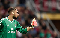 Calcio, Serie A: Milano, stadio Giuseppe Meazza (San Siro), 1 ottobre 2017.<br /> Milan's Gianluigi Donnarumma reacts during the Italian Serie A football match between Milan and AS Roma at Milan's Giuseppe Meazza (San Siro) stadium, October 1, 2017.<br /> UPDATE IMAGES PRESS/IsabellaBonotto