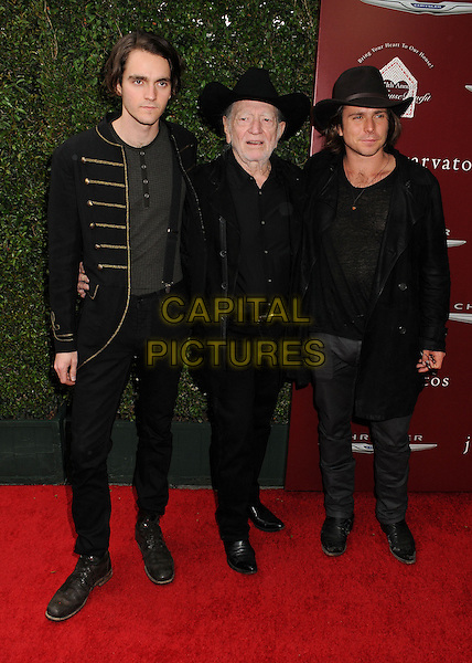13 April 2014 - West Hollywood, California - Micah Nelson, Willie Nelson, Lukas Nelson. John Varvatos' 11th Annual Stuart House Benefit held at John Varvatos Boutique. <br /> CAP/ADM/BP<br /> &copy;Byron Purvis/AdMedia/Capital Pictures
