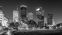 Another capture of the Houston Bagby to Sabine pedestrian bridge with the Houston skyline in downtown area after dark in black and white. This is a popular place for walking and biking in the city and the pedestrian bridge is an easy route over the waters of Buffalo Bayou it is also well lit as you can see along the trails in the city.