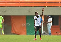 ENVIGADO - COLOMBIA, 08-03-2020: Jader Obrian de Rionegro celebra después de anotar el segundo gol de su equipo durante partido por la fecha 8 de la Liga BetPlay DIMAYOR I 2020 entre Envigado F.C. y Rionegro Águilas jugado en el estadio Polideportivo Sur de Envigado. / Jader Obrian of Rionegro celebrates after scoring the second goal of his team during match for the date 8 of the BetPlay DIMAYOR League I 2020 between Envigado F.C. and Rionegro Aguilas played at Polideportivo Sur stadium of Envigado city.  Photo: VizzorImage / Leon Monsalve / Cont