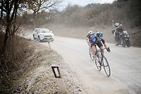 race leaders Diego Rosa (ITA/Sky) & Nico Denz (DEU/AG2R-La Mondiale) on the white dust roads of Tuscany<br /> <br /> 13th Strade Bianche 2019 (1.UWT)<br /> One day race from Siena to Siena (184km)<br /> <br /> ©kramon