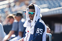 Peoria Javelinas outfielder Buddy Reed (85), of the San Diego Padres organization, in the dugout during an Arizona Fall League game against the Glendale Desert Dogs at Peoria Sports Complex on October 22, 2018 in Peoria, Arizona. Glendale defeated Peoria 6-2. (Zachary Lucy/Four Seam Images)