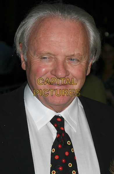 "ANTHONY HOPKINS.""Proof "" Premiere at The Ziegfeld Theater,.New York, 13th September 2005.portrait headshot black suit white shirt pattern tie.Ref: IW.www.capitalpictures.com.sales@capitalpictures.com.©Capital Pictures"