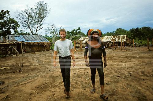 Capoto Village, Brazil. Sting and Chief Raoni of the Megranoti-Kayapo, Xingu, Brazil; Nov 1990.