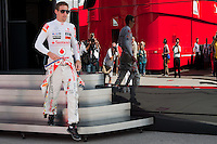 McLaren Formula One driver Jenson Button of Britain wears a Kalocsa design outfit before the free practice of the Hungarian F1 Grand Prix in Mogyorod (about 20km north-east from Budapest), Hungary. Saturday, 30. July 2011. ATTILA VOLGYI.Team sponsor Hugo Boss celebrates its 30th anniversary with special fan made designs for competition saturdays on all races. On Hungaroring the special design is from Hungarian folk tradition with motives from Kalocsa..