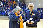 ROTTERDAM - Rico Schaap  en Ineke Blok tijdens   de  finale zaalhockey om het Nederlands kampioenschap tussen de  vrouwen  van Amsterdam en MOP.  Amsterdam wint de finale en dus het Kampioenschap.ANP KOEN SUYK