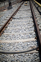 ALSTOM's S-Bond cables are seen on the tracks just before the Beacon and DLR at the depot and primary station, Baiyappanahalli, in Bangalore, Karnataka, India on 10th March 2011..Photo by Suzanne Lee/Abaca Press