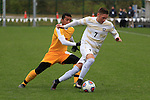 KANSAS CITY, MO - DECEMBER 03:   Christian Szalay (7) of Wingate University  races downfield with the ball against the University of Charleston during the Division II Men's Soccer Championship held at Children's Mercy Victory Field at Swope Soccer Village on December 03, 2016 in Kansas City, Missouri. Wingate beat Charleston 2-0 to win the National Championship. (Photo by Jack Dempsey/NCAA Photos via Getty Images)