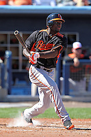 Baltimore Orioles outfielder Xavier Avery #70 during a spring training game against the Tampa Bay Rays at the Charlotte County Sports Park on March 5, 2012 in Port Charlotte, Florida.  (Mike Janes/Four Seam Images)