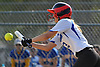 Catherine Zucker #3, North Babylon centerfielder, bunts for a hit to start a rally that resulted in two runs in the bottom of the third inning of a Suffolk County League V varsity softball game against West Islip at North Babylon High School on Wednesday, May 9, 2018. North Babylon won by a score of 4-1.