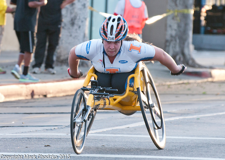 Handicapped woman competes at the L.A. Marathon.