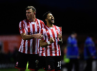 Lincoln City's Bruno Andrade, right, celebrates scoring his side's third goal with team-mate Matt Rhead<br /> <br /> Photographer Chris Vaughan/CameraSport<br /> <br /> Emirates FA Cup First Round - Lincoln City v Northampton Town - Saturday 10th November 2018 - Sincil Bank - Lincoln<br />  <br /> World Copyright &copy; 2018 CameraSport. All rights reserved. 43 Linden Ave. Countesthorpe. Leicester. England. LE8 5PG - Tel: +44 (0) 116 277 4147 - admin@camerasport.com - www.camerasport.com