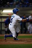 Rancho Cucamonga Quakes third baseman Rylan Bannon (25) follows through on his swing during a California League game against the Lake Elsinore Storm at LoanMart Field on May 19, 2018 in Rancho Cucamonga, California. Lake Elsinore defeated Rancho Cucamonga 10-7. (Zachary Lucy/Four Seam Images)