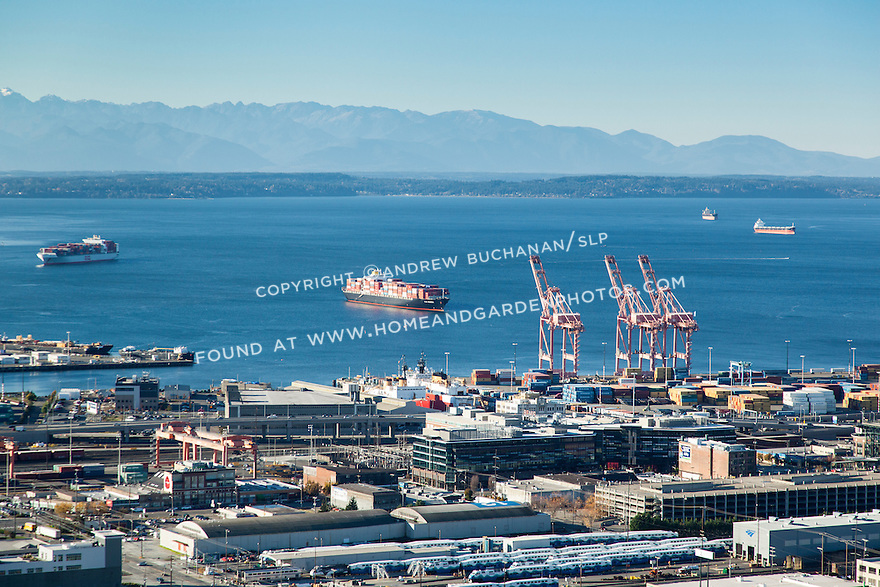 Aerial view of container ships arriving at the Port of Seattle on Puget Sound