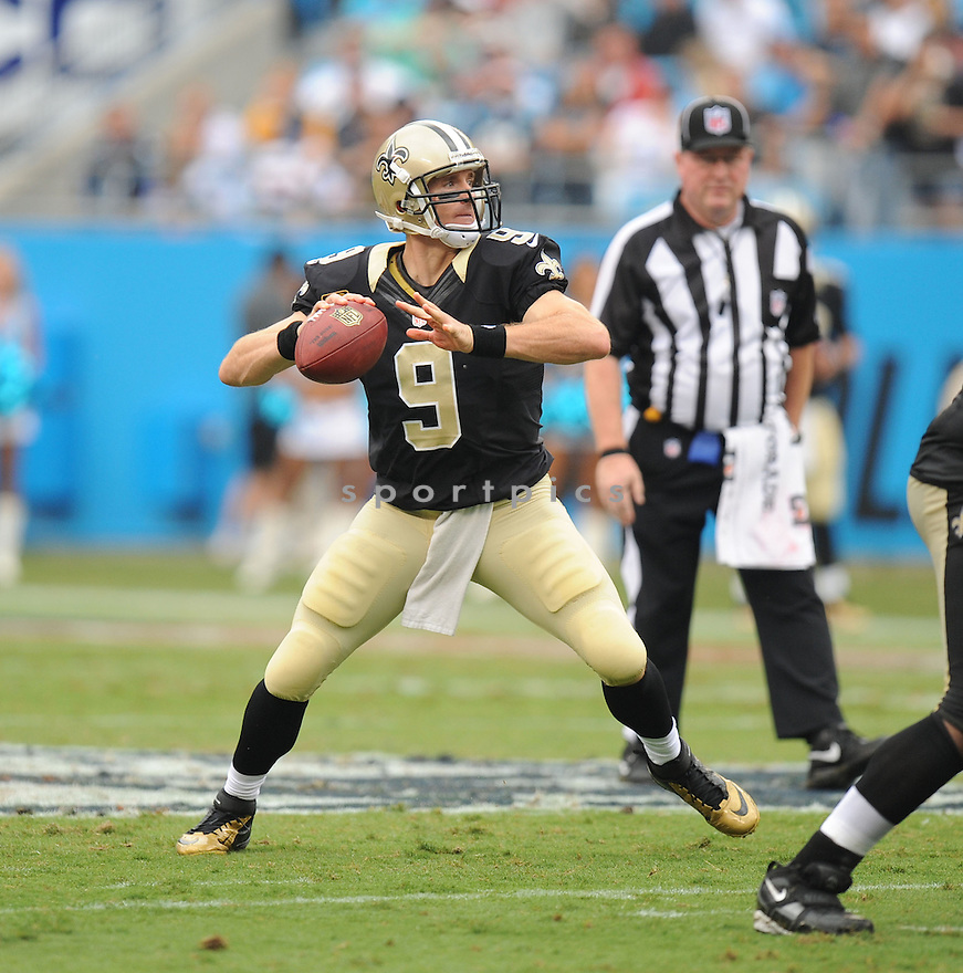 New Orleans Saints Drew Brees (9) during a game against the Carolina Panthers on September 16, 2012 at Bank of America Stadium in Charlotte, NC. The Panthers beat the Saints 35-27.