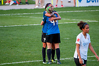 Kansas City, MO - Wednesday August 16, 2017: Sydney Leroux Dwyer, Maegan Kelly during a regular season National Women's Soccer League (NWSL) match between FC Kansas City and Sky Blue FC at Children's Mercy Victory Field.